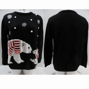 Forever 21 sweater Medium polar bears snow XMas
